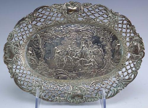 Ornate 800 European Silver Figural Scene Tray 131g