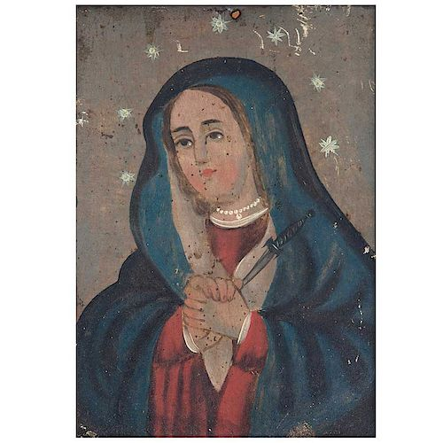 Anónimo. Vírgen dolorosa. México, siglo XX. Óleo sobre lámina.  Con marco de madera y latón. 16.5x12 cm