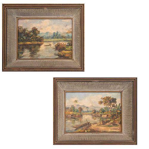 Firmadas A. Emdara R. Lote de 2 obras pictóricas. Paisaje. Siglo XX. Óleo sobre rígido. 13 x 18 cm c/u