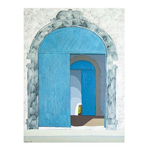 Gilberto Almeida. Vista de entrada de Iglesia. Acrílico sobre tela. Firmado. Enmarcado. 159 x 119 cm