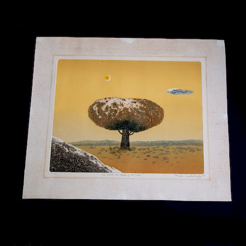Pilar Castañeda (Cd. México 1941 -) El árbol del bien y el mal Grabado sobre papel P/A. Firmado y fechado 79. Sin enmarcar.