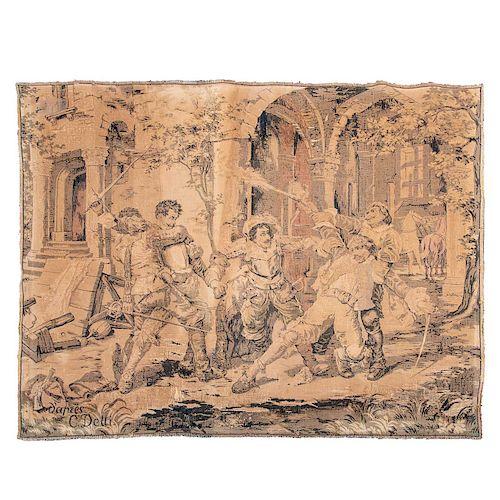 Gobelino. Francia, siglo XX. Elaborado en fibras de lana y algodón. Decorado con escena de duelo. Firmado D'Arnes C. Detti.