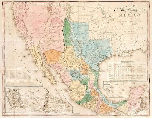 Tanner, Henry Schenck. A Map of the United States of Mexico. Fourth Edition, 1847. Mapa coloreado, 56.5 x 72 cm.