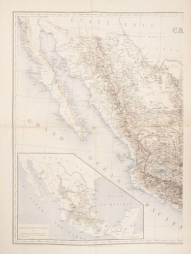 Niox, Gustave Leon. Expédition du Mexique 1861 - 1867. Recit Politique & Militaire. Paris, 1874. Texto y Atlas, 5 mapas. Piezas: 2.