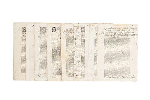 Cartas Poder. Ciudad de México y Ciudad de los Ángeles, principios del siglo XVII.  Varios firmantes. Piezas: 8.