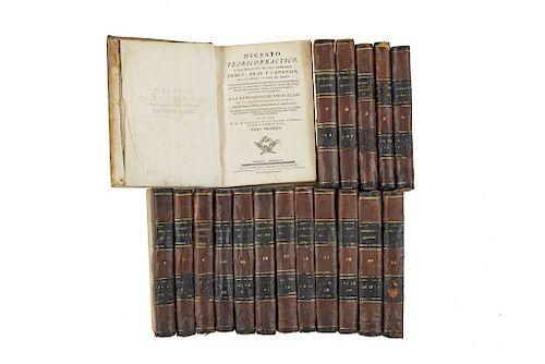 Rodríguez de Fonseca, Bartolomé Agustín. Digesto Teórico Práctico. Madrid: Por D. Joachin Ibarra, 1775 - 1791. Piezas: 18.
