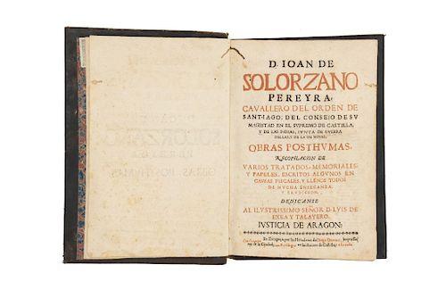 Solorzano, Ioan de. Obras Posthumas. Zaragoza: por los herederos de Diego Dormer, 1876.