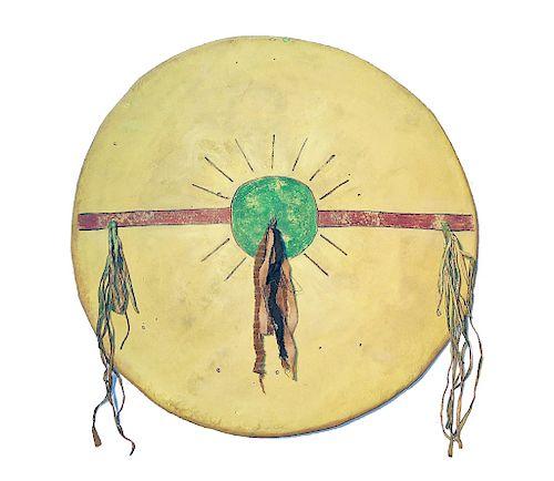 Kiowa Comanche Polychrome Painted War Shield 1800s