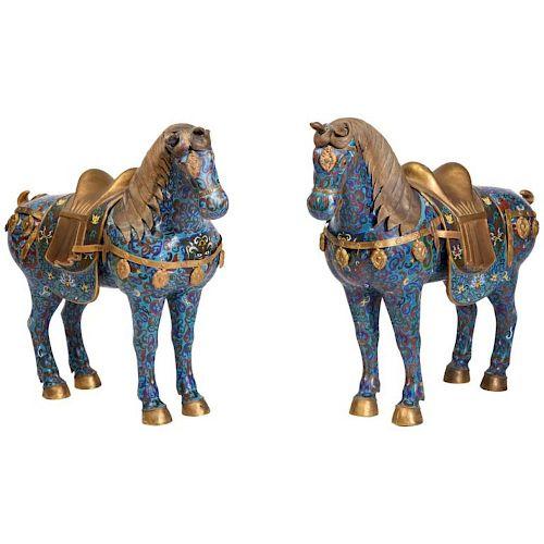Large Pair of Chinese Cloisonne Enamel Horses