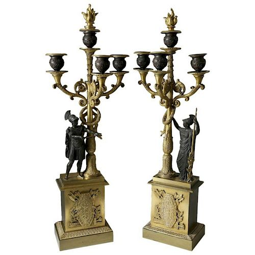 Pair of Second Empire French Gilt and Patinated Bronze four-light candelabra, circa 1860