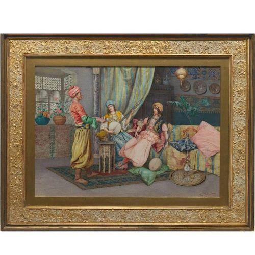 Paolo Folchi Orientalist Watercolor Females and Servant