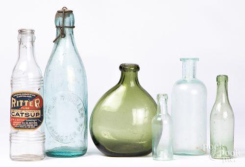 Blown olive glass bottle, etc.
