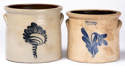 Two cobalt decorated stoneware crocks