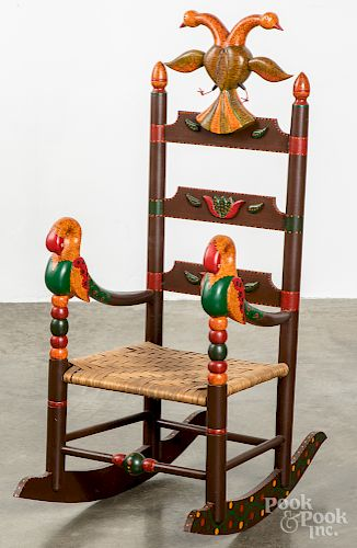 Don Noyes carved and painted child's rocking chair