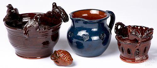 Four pieces of Foltz redware
