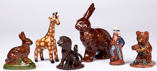 Six contemporary figural redware pieces
