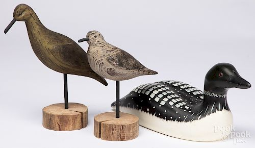 Three contemporary carved and painted decoys