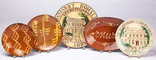 Five contemporary redware plates