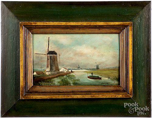 Dutch oil on panel canal scene