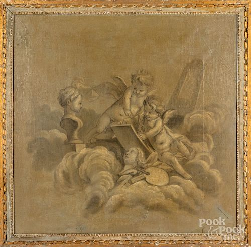 Pair of Italian oil on canvas putti at play