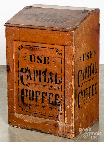 Painted pine Capital Coffee bin