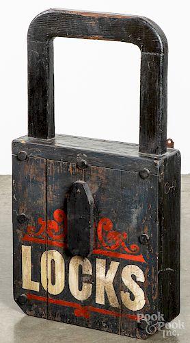 Painted pine padlock trade sign