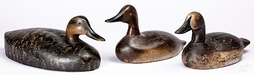 Three carved and painted duck decoys
