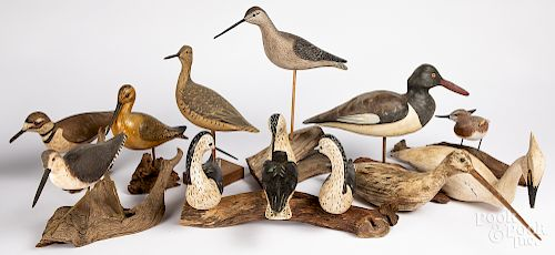 Contemporary carved and painted shorebird decoys