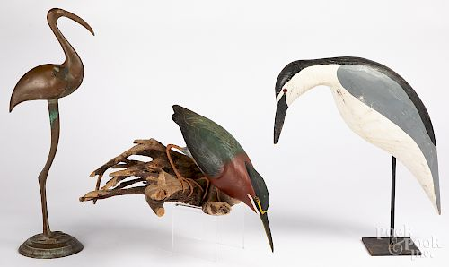 Two contemporary carved and painted shorebirds