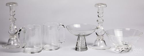 Pair of Steuben glass candlesticks, etc.
