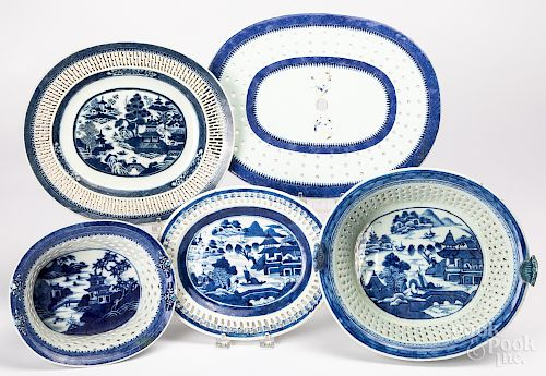 Two Chinese export reticulated baskets, etc.