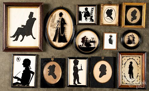 Collection of antique and repro silhouettes, etc.
