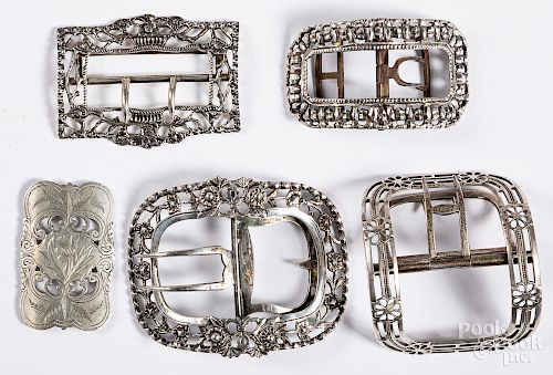 Five English and Continental silver buckles