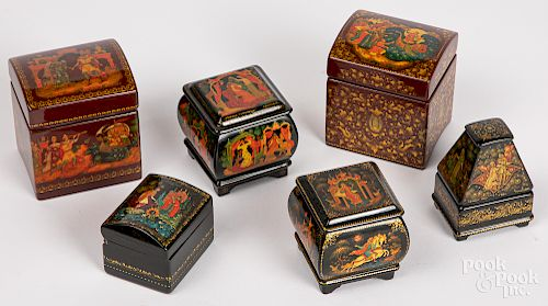 Six small Russian lacquer boxes