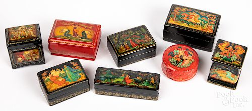 Eight small Russian lacquer boxes