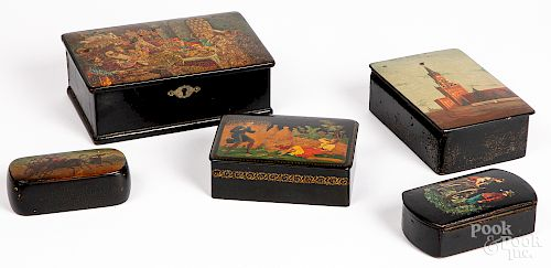 Five antique Russian lacquer boxes