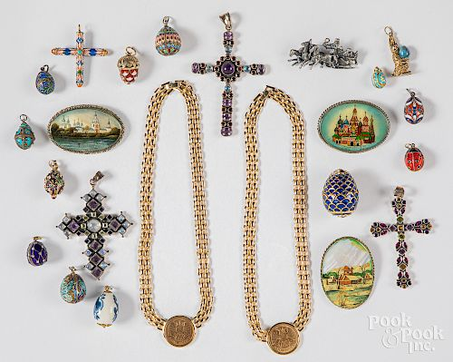 Group of mostly Russian pins, pendants, necklaces