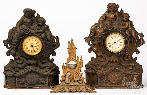 Two cast iron mantel clocks, etc.