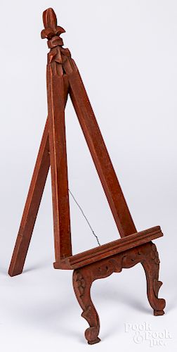 Carved and painted table top easel