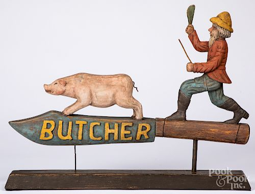 Carved and painted butcher trade sign