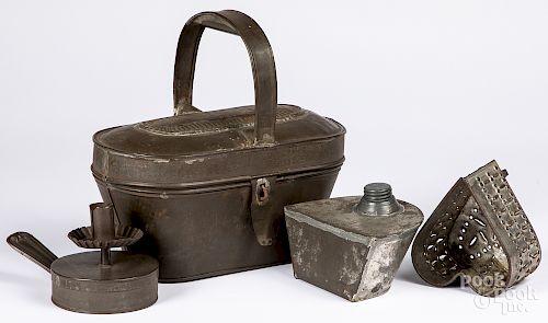 Tin lunchbox, etc.