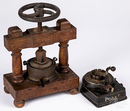 Iron and wood fruit press, etc.