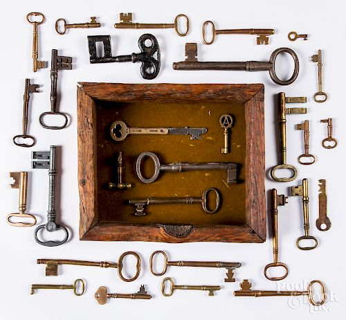 Collection of early iron and brass keys