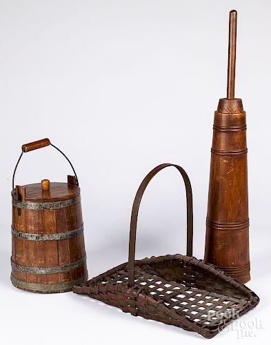 Wood lidded bucket, etc.