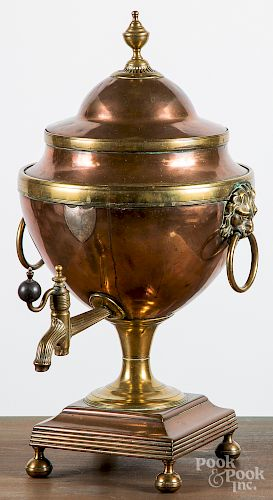 English brass and copper water urn