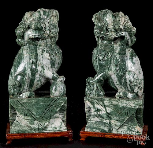 Pair of Chinese carved marble foo lions