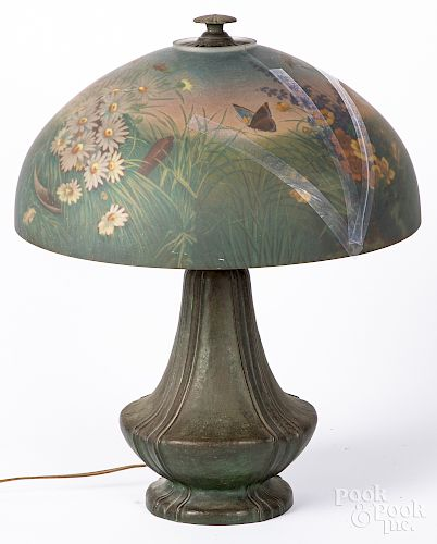 Patinated bronze table lamp