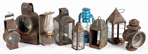 Group of early tin lighting and parts