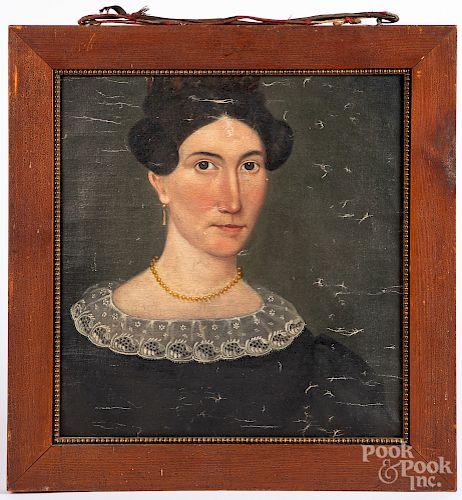 Oil on canvas folk art portrait fragment