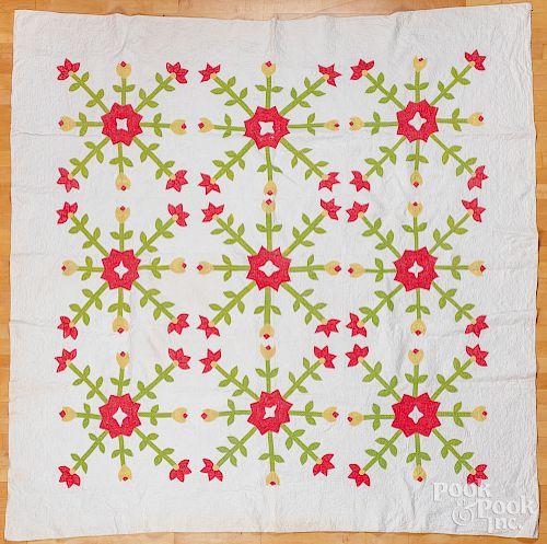 Floral appliqué quilt